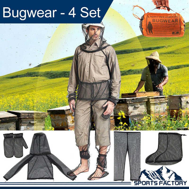 All'aperto Bug Usura Anti Zanzara Rivestimento del Vestito Guanti Pantaloni Calzini E Calzettoni Rete Da Pesca di Campeggio di Caccia Giacca Insetto Camicia di Maglia Guanti