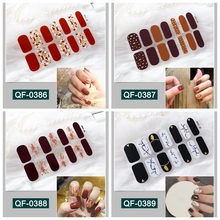 14tips/sheet Colorful 3D Nail Art Sticker Adhesive Full Tips Polish Slider  Decorations DIY Stencil Manicure