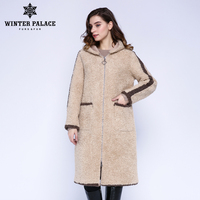 WINTER PALACE 2019 Women's New Wool Coat Long Hooded Trench Coat Granular Wool Contains 30% Zipper Winter Warm Fur Coat