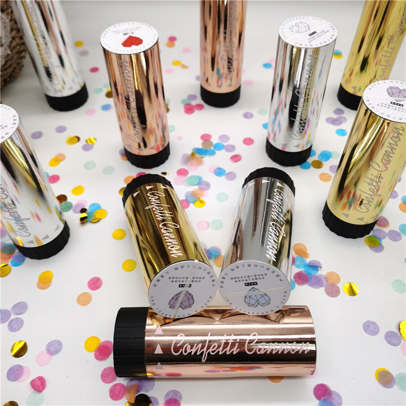 50pcs Foil Rose Gold  Silver Confetti Party Popper Cannons Handheld Fireworks Wedding Birthday Dance Party Celebration
