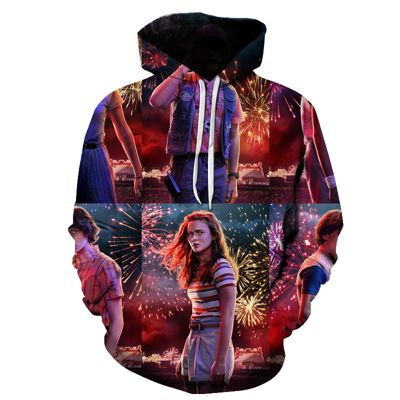New Fashion Stranger Things Printed 3D Sweatshirt Men Women Hoodies Long Sleeve TV Series Pullover For Male Streetwear