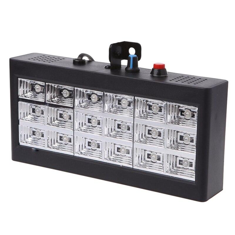 BEAU-Sound Music Control 18W Rgb Led Stage Effect Lighting Dj Party Show Strobe Disco Light 220V Ac 110V (Eu Plug)