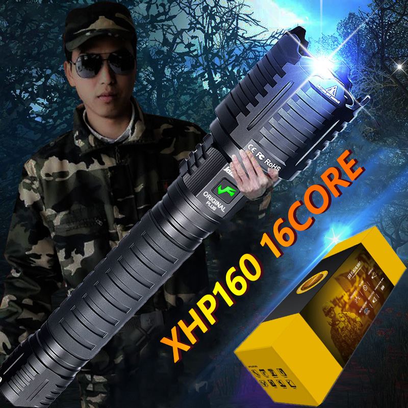 XHP160 16 Core Long Distance LED Flashlight 10000mAH Powerful Flashlight USB Rechargeable Zoom Torch Led Self-defense Hand Torch