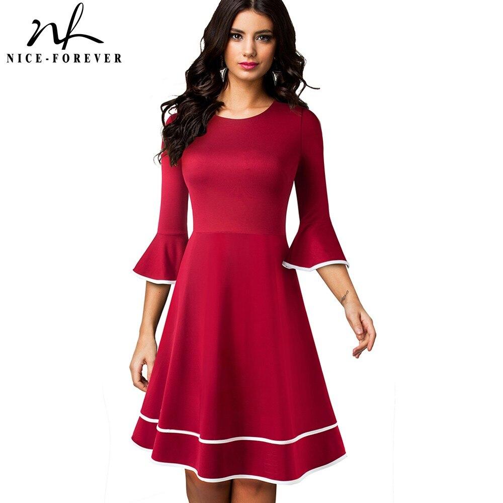 Женское платье с расклешенными рукавами Nice forever, однотонное ТРАПЕЦИЕВИДНОЕ ПЛАТЬЕ в стиле ретро для рождественской вечеринки, A233|Платья| | АлиЭкспресс
