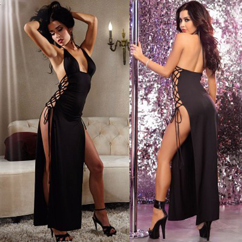 Women's Sexy Charming Sideband Straps Long Nightdress  Erotic Lingerie Temptation Uniform M L XL XXL XXXL Black Hollow Sleepwear