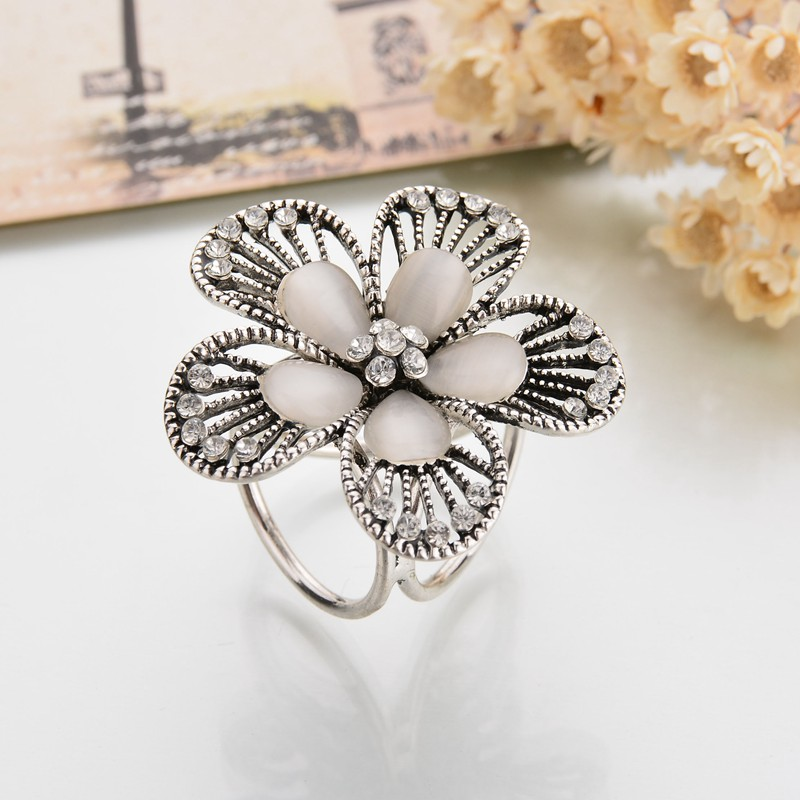 Gariton Real Shooting Vintage Crystal Flowers Brooches For Women Camellia Boutonniere Opal Tricyclic Scarf Buckle in Brooches from Jewelry Accessories