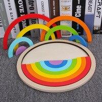 Building Blocks Toys 14Pcs/Set Colorful Rainbow Wooden Blocks Toys Creative Assembling Blocks Circle Set Toy For Children