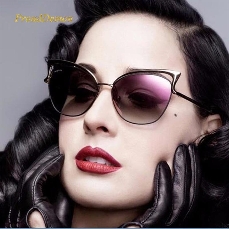 Damskie okulary przeciwsłoneczne kocie oczy metalowa ramka