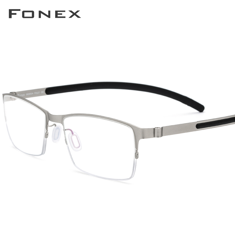 FONEX Alloy Eyeglasses Frame Men Prescription Half Rim Square Myopia Optical Glasses Semi Rimless Screwless Eyewear 981