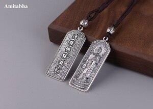 Image 3 - 100% 925 Silver Tibetan Amitabha Buddha Statue Pendant Buddhist Kuanyin Pendant Tibetan Avalokitesvara Pendant Good Luck Amulet