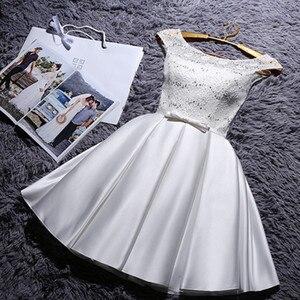 Image 5 - YRPX XB # 새 샴페인 신부 들러리 드레스 플러스 크기 2020 여름 짧은 회색 빨간색 신부 웨딩 파티 가운 도매 여자