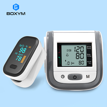 BOXYM Medical Fingertip Pulse Oximeter & LCD Wrist Blood Pressure Family Health Care Travel Packages 1