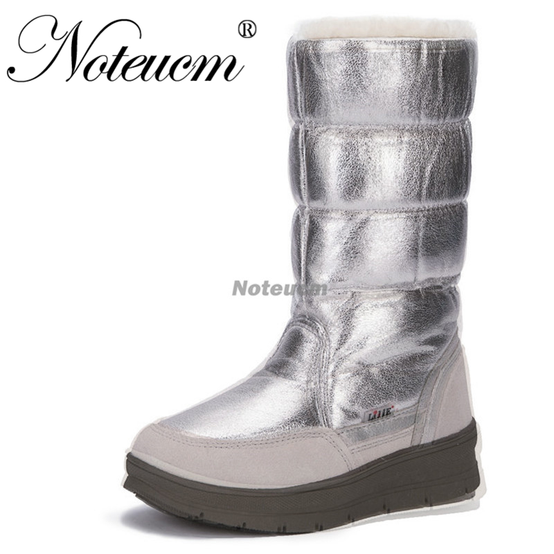 2019 female Silver high winter warm waterproof long shoe tall boat footwear snow boots with plush