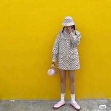 Good Quality New Classic Checkerboard Mid-length Hooded Waist Coat Women Windbreaker Korean Style Shorts Shirt Temperament Tide
