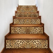 6pcs/set 3D Leopard Staircase Stair Riser Floor Sticker Self Adhesive DIY Stairway Waterproof PVC Wall Decal Home Decor цена 2017