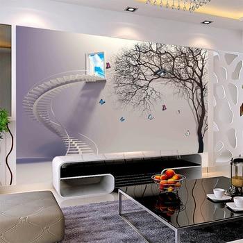 Pegatina 3d de pared para Proyecto de Mejora del hogar sin costuras sofatv FONDO DE dormitorio 3D escalera de pared árbol abstracto DIY
