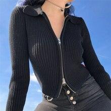 FUNKLOUZ Women Dual Zipper Ribbed Sweater Shirt Cropped Knit Cardigans 2019 New Autumn Winter ribbed knit sweatshirt
