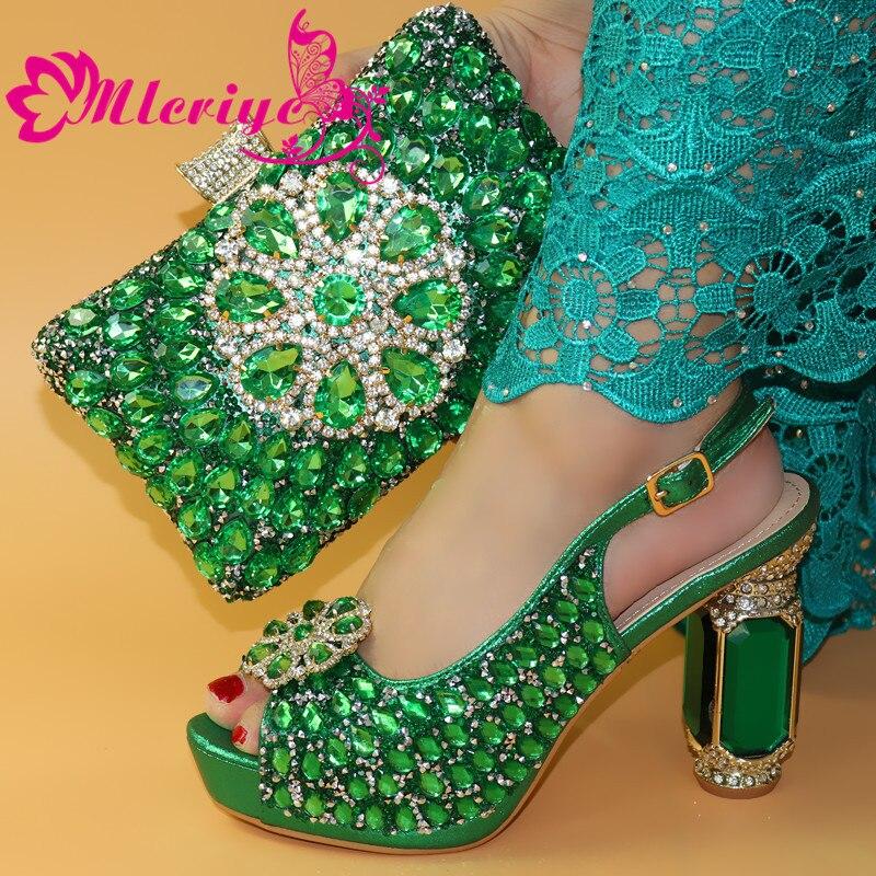 Italiaanse Schoenen Met Bijpassende Tas Voor Party Met Stenen Bruiloft Schoenen En Tas Set Hoge Kwaliteit Vrouwen Pompen roze kleur PU leer - 6