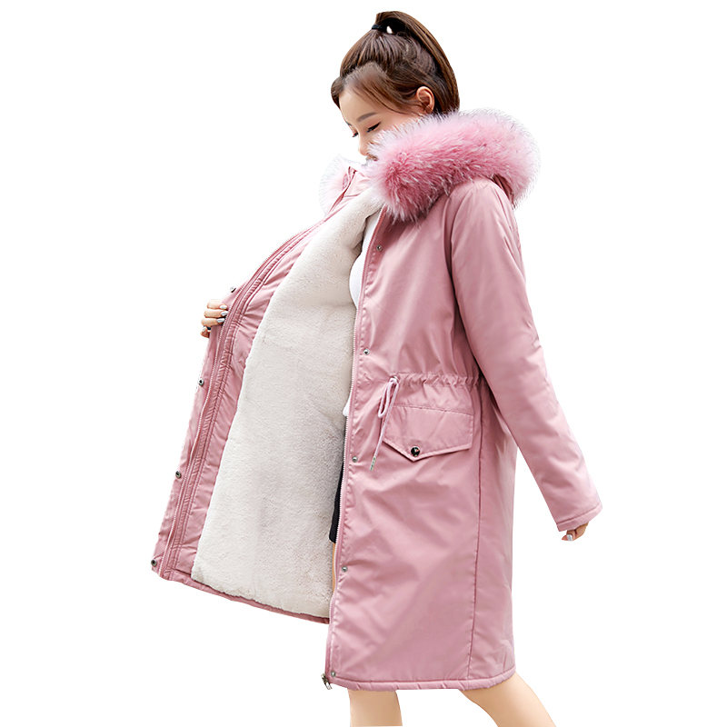 Зимние парки, пальто 2019, Зимняя женская куртка, модные, с капюшоном, с меховым воротником, толстые, теплые, длинные, зимние пальто 30 градусов, зимние куртки