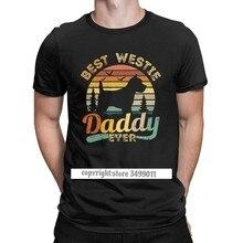 Melhor west highland terrier branco papai nunca westie t camisas masculinas amante do cão do vintage camisetas topos camisa de algodão adulto roupas