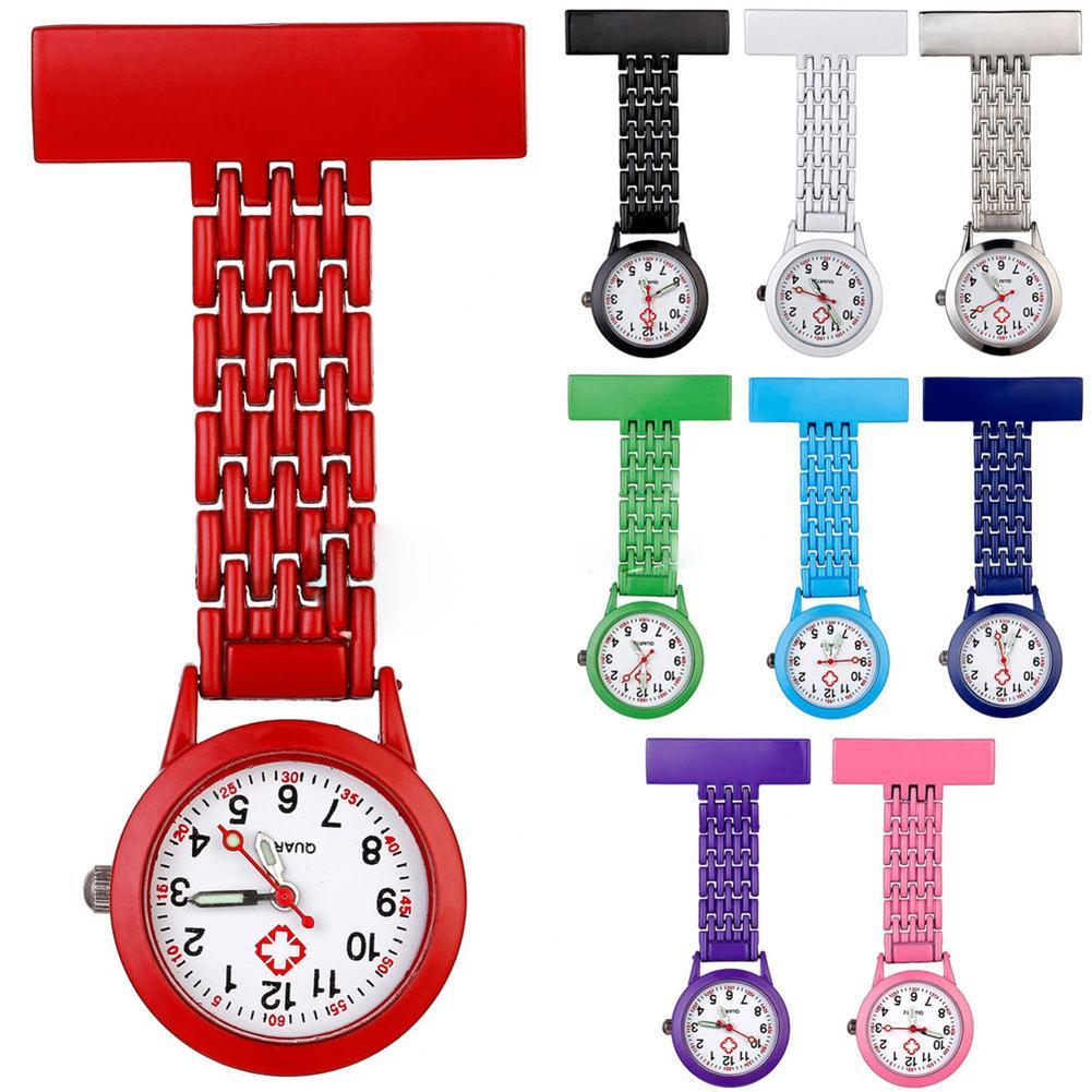 Women Nurse Watch Multicolor Stylish Metal Clip Brooch Tunic Pocket Watch Quartz Analog Medical Nurse Fob Watch Relogio De Bolso