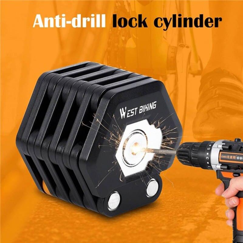 Foldable Bike Lock With 3 Keys Hamburg-Lock Alloy Anti-Theft Strong Security Bicycle Folding Lock Mount Bracket Chain Lock