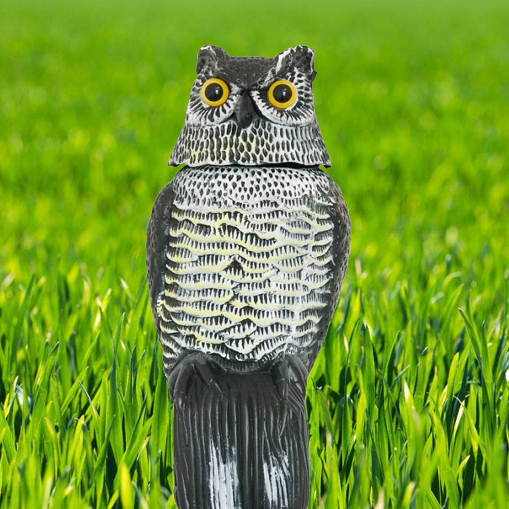 Garden Protection Fake Realistic Repellent Scarecrow Rotating Head Wind Action Pest Control Ornaments Bird Scarer Yard Owl Decoy