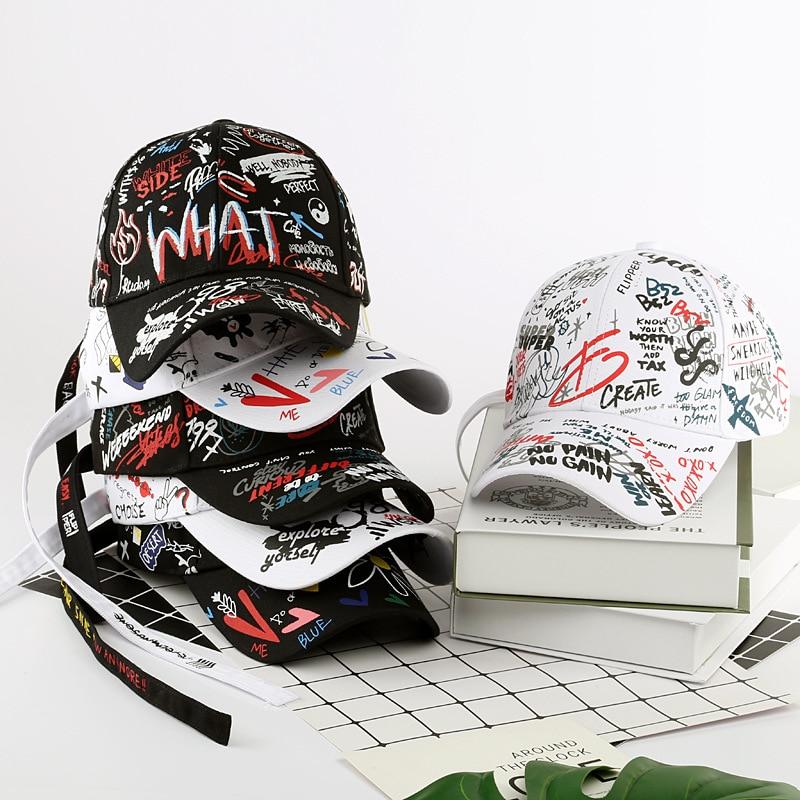 SLECKTON 100% Cotton Graffiti Baseball Cap For Men And Women Fashion Hats Unisex Casual Hip Hop Snapback Hat Peaked Caps Summer