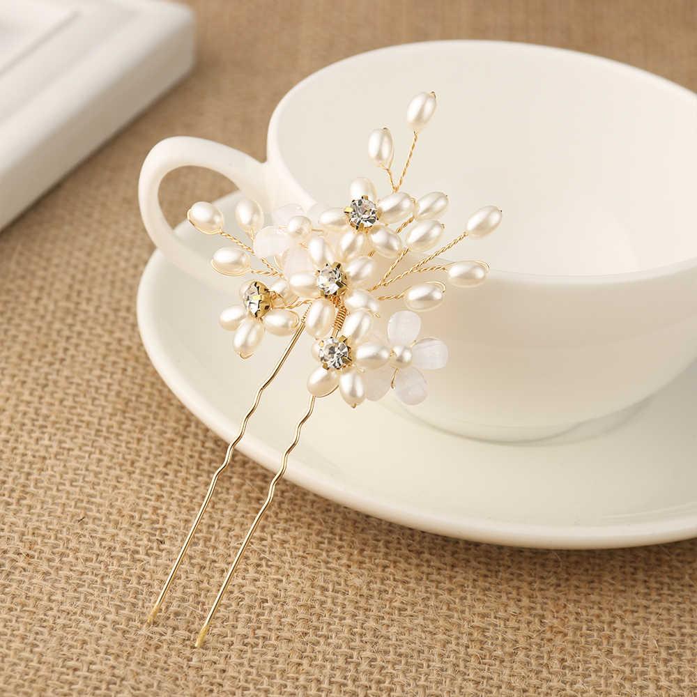 Rose Gold Prom Bride Bridesmaid Hair Accessories Pearl Hair Brooches Clip Luxury Rhinestone Crystal Hair Wedding Brooches women