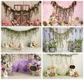 Leacco Spring Happy 1st Birthday Wooden Photographic Backdrops Party Flowers Baby Portrait Photographic Backgrounds Photo Studio