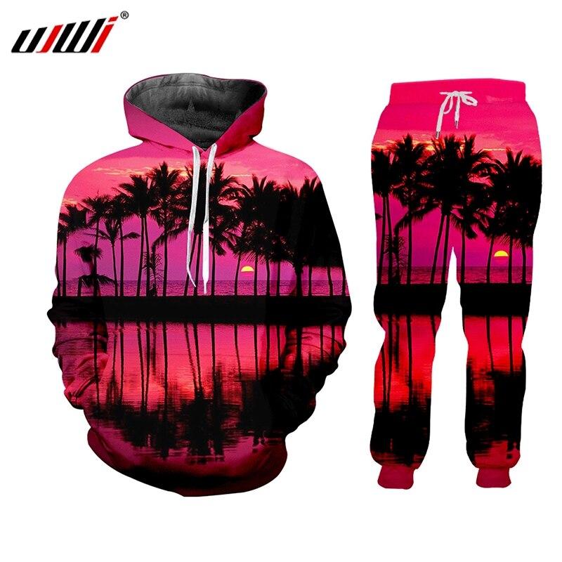 UJWI Men Tracksuit 3D Print Pink Sunset Dusk Unisex Hoodie Streetwearnatural Scenery Casual  Pants  Hombre Sportswear