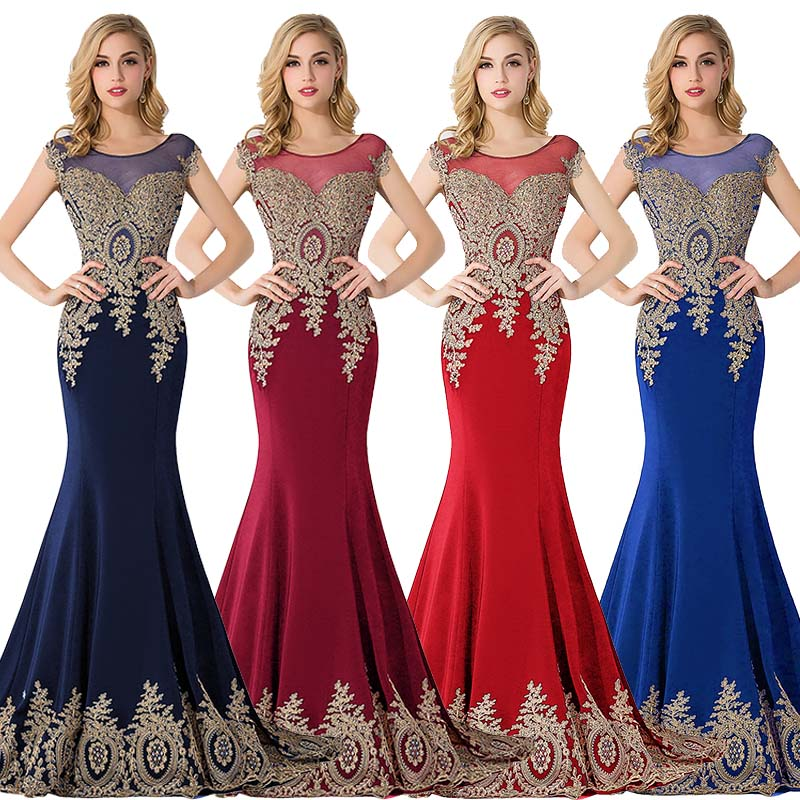 3 Styles Stock Evening Dresses Long 2019 Sleeveless Mermaid Lace Dresses Long Evening Gown Women Prom Dress