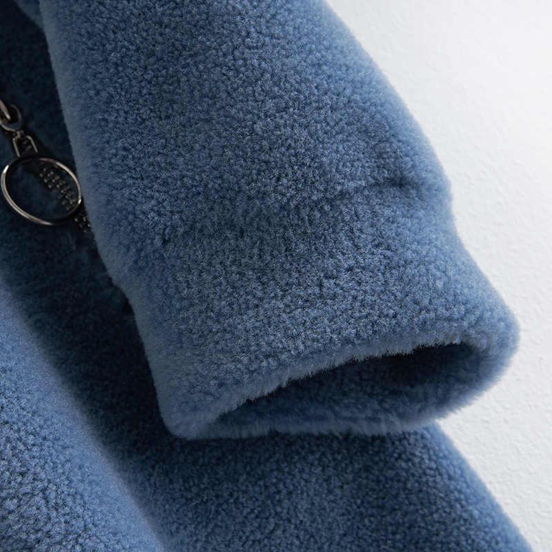 Echte Bontjas Vrouwelijke Winter Schapen Scheren Jas + Grote Vossenbont Hooded Koran Echte Wol Jas Dikke Waem Jas b18F23407