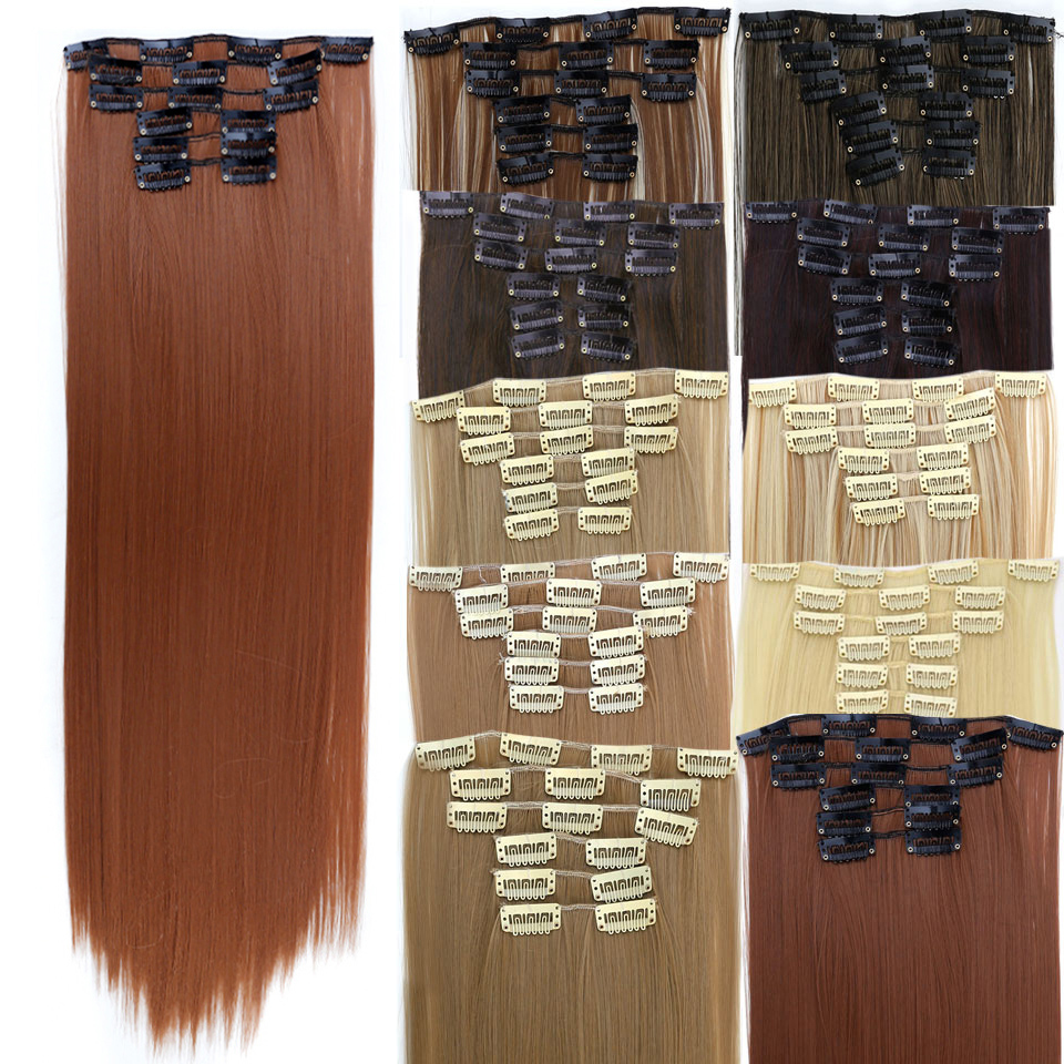 WTB Long 24 Inch Striaght Real Thick Full Head Clip In Hair Extensions 6 Pcs Natural Black Brown Heat Resistant Synthetic Hair