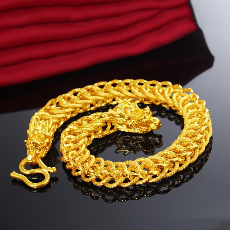 Véritable 24K or Bijoux Bracelets pour Femme hommes Fine Pulseira Feminina Argent 925 Bijoux Bijoux Femme Bizuteria Bracelets de mariage
