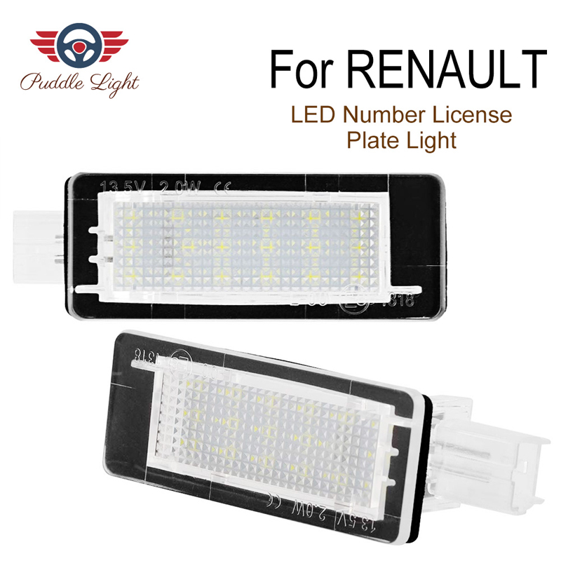 2Pcs Car <font><b>LED</b></font> Number License Plate Light For <font><b>Renault</b></font> Clio Zoe Laguna Scenic Fluence <font><b>Modus</b></font> Megane Espace Master Twigo Dacia Logan image