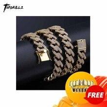 Conjunto correntes cubano 14mm miami prong, colar para homens, ouro, prata, hip hop, iced out, pavimentado, bling cz colar de rapper, joias