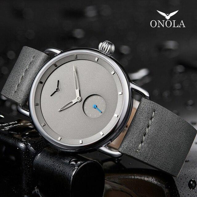 ONOLA Reloj sencillo de acero inoxidable para hombre, reloj de pulsera masculino, de cuero genuino, elegante, informal, resistente al agua, 2019