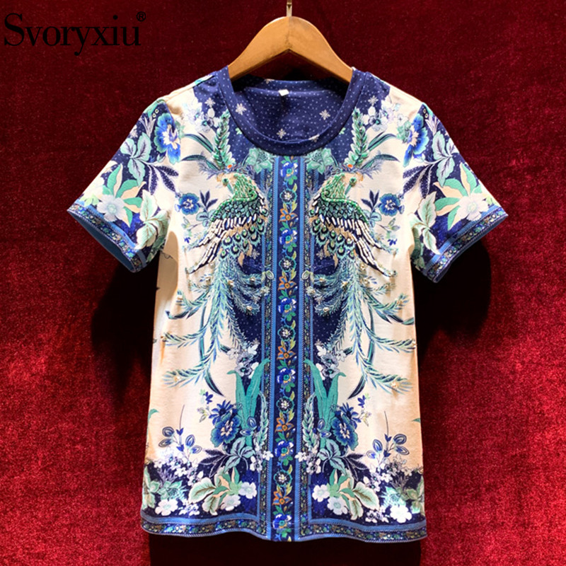 Svoryxiu, 2020, nuevo diseñador, camisetas de moda de verano a la moda, camisetas de manga corta con Diamante Azul de cristal para mujer, estampado blanco, camisetas de talla grande|Camisetas|   - AliExpress