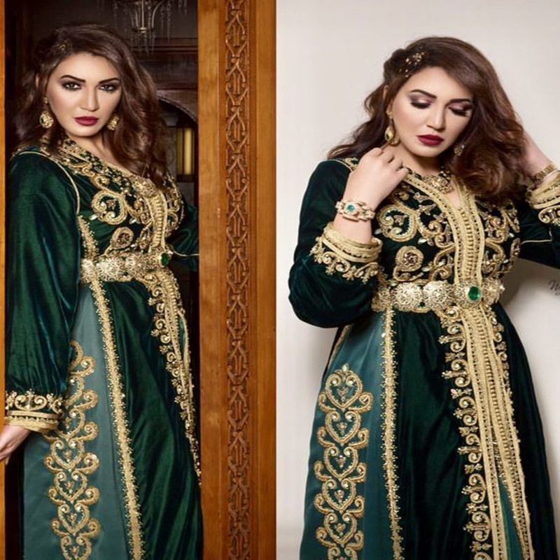 Caftan Robes Marocaines Paris Prom Gowns Long Sleeve Dubai Bruxelles Marocain De Luxe Dark Green Velvet Gold Lace Evening Gown