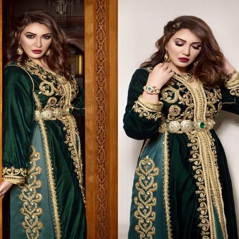Caftan Robes Marocaines Paris Prom Gowns Long Sleeve Dubai Bruxelles Marocain De Luxe Dark Green Velvet Gold Lace Evening Gown