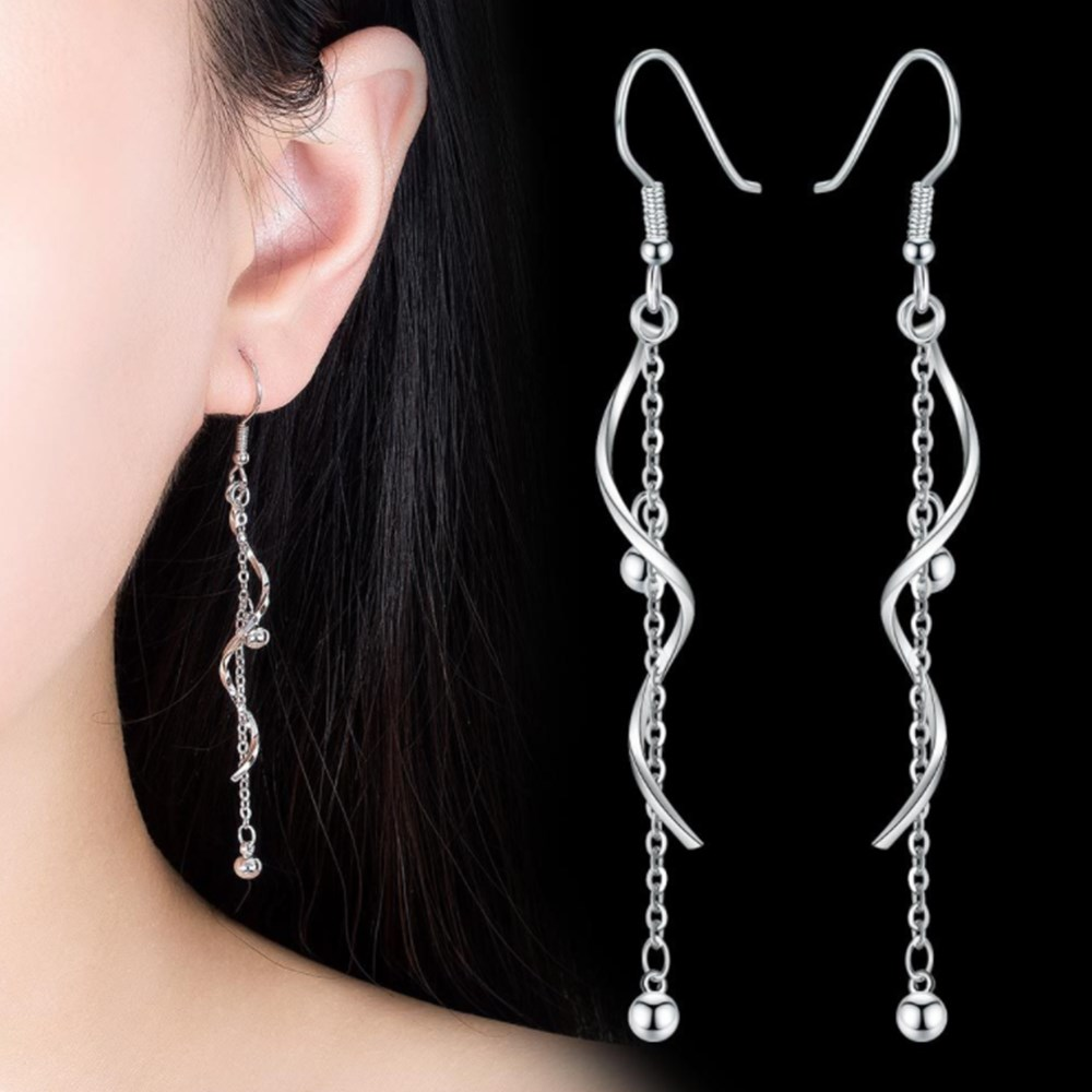 NEHZY 925 Sterling Silver New Woman Fashion Jewelry High Quality Golden Rose Gold Silver Long Tassel Hook Earrings