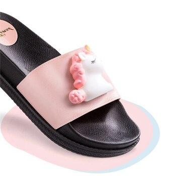 2020 new trend cute Cartoon Unicorns platform home flip-flops Shoes women girls student summer Beach house bathroom slippers 3