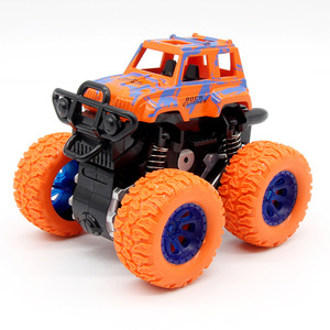 Image 4 - الأزرق طفل الجمود سيارة لعب صغيرة شاحنة الأطفال التراجع لعب المركبات الاحتكاك بالطاقة نموذج عجلات كبيرة