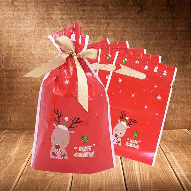 5/10 個クリスマスキャンディークッキーパックバッグ新年ギフトバッグクリスマスサンタクロースギフトビスケットビニール袋パーティーの装飾のため
