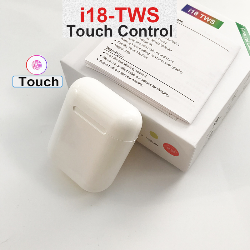 Original Mini i18 <font><b>TWS</b></font> Wireless Earphone Bluetooth 5.0 Headphone Sports Touch Headset for Android xiaomi Iphone ear for i20 i30 image