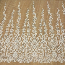 European and American  brand lace fabric wedding dress fish tail embroidery glitter DIY accessories new high-end wedding dress