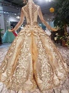 Image 3 - Robe de mariée dorée Vintage à manches longues, tenue de mariée luxueuse de bonne qualité à manches longues, longueur de plancher, perles, 2020