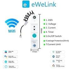 Disjoncteur intelligent WIFI Rail Din 1P, consommation d'énergie, kWh, minuterie, commutateur, voltmètre relais pour maison intelligente