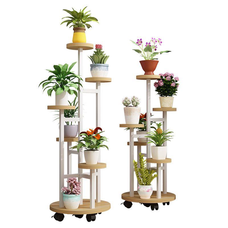 Flower Shelf Move Pulley Multi-layer Indoor Living Room Space Space Green Loll Rack Balcony Fall Subway Art Pot Rack